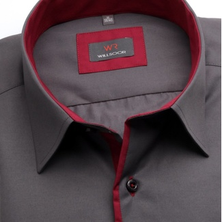 Men's shirt Slim Fit dark grey with a red lining 12172