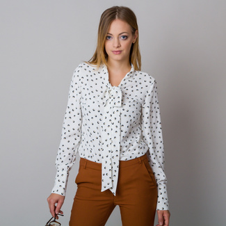 Women's shirt with a long ribbon and polka dot pattern 12175