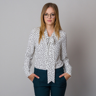 Women's shirt with a long ribbon and delicate black pattern 12176