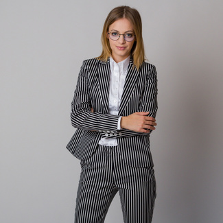 Women's jacket with black and white striped pattern 12184, Willsoor