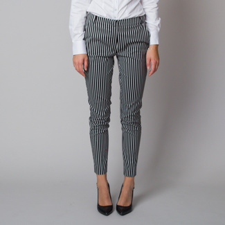 Women's dress pants with black and white striped pattern 12185, Willsoor