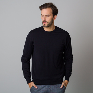 Men's jumper black with smooth pattern 12193