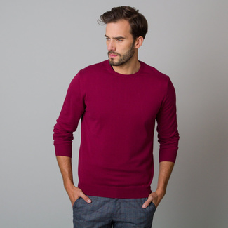 Men's jumper in claret with smooth pattern 12194