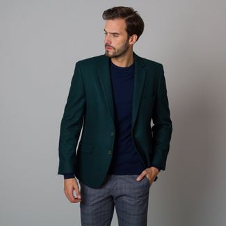 Men's suit jacket in dark green with smooth pattern 12196, Willsoor