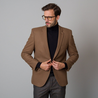 Men's suit jacket in brown with smooth pattern 12197, Willsoor