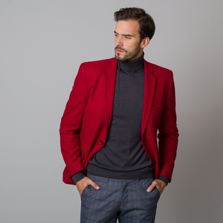 Men's suit jacket in red with smooth pattern 12198, Willsoor