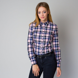 Women's shirt in pink with check pattern 12199, Willsoor