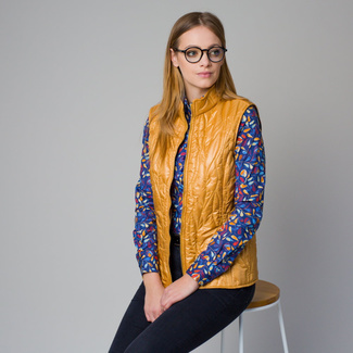 Women's quilted vest in mustard color 12205, Willsoor