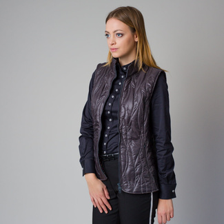 Women's quilted vest in a dark grey color 12208, Willsoor
