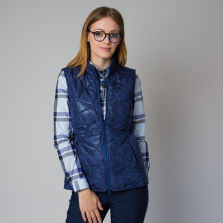 Women's quilted vest in a blue color with a delicate pattern 12211, Willsoor