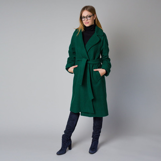 Women's coat in dark green color 12215, Willsoor