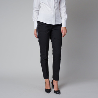 Women's formal trousers in black with a side stripe 12218