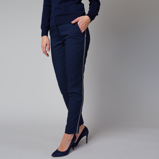 Women's dark blue formal trousers with a side stripe 12219