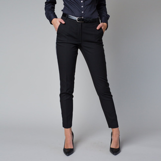Women's formal trousers in black with a side stripe 12220
