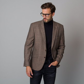 Men's jacket in brown with a checkered pattern 12222