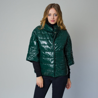 Women's quilted jacket in a dark green color 12225, Willsoor