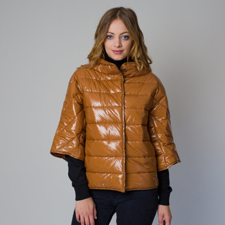 Women quilted jacket in a brown color 12227, Willsoor