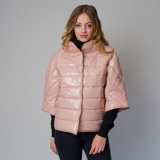 Women's quilted jacket in a light pink color 12228, Willsoor