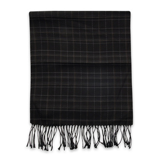 Thin scarf black color with checked pattern 12245, Willsoor