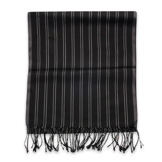 Thin scarf black color with striped pattern 12246, Willsoor