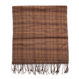 Thin scarf brown color with checked pattern 12247, Willsoor
