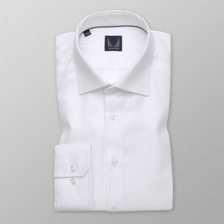 Men's Slim Fit shirt in a white color with a delicate pattern 12264