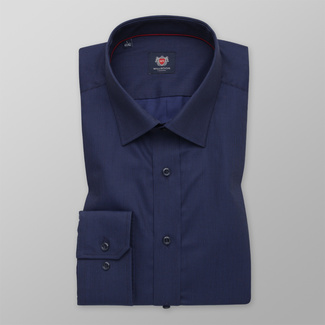 Men's Slim Fit shirt in a dark blue color with a delicate pattern 12269