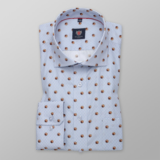 Men's Slim Fit shirt with orange polka dots pattern 12276