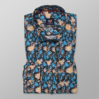 Men's Slim Fit shirt with color plant pattern 12280