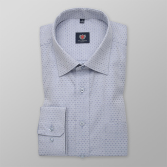 Men's classic grey shirt with dark blue dots 12283