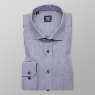 Men's classic shirt in light blue with fine pattern 12292