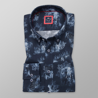 Men's Slim Fit shirt with contrast animal print 12293