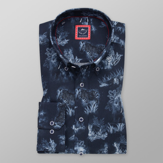 Men's classic shirt with contrast animal print 12294