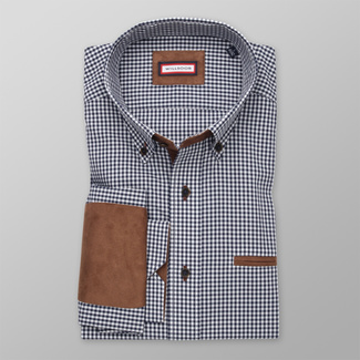 Men's Slim Fit shirt with blue-white pattern and elbow pads 12295