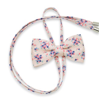 Women's bow tie in pink color with flower print 12301