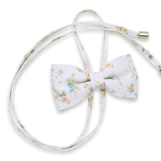 Women's bow tie in white color with floral print 12302