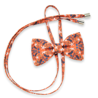 Women's bow tie in orange with floral pattern 12303