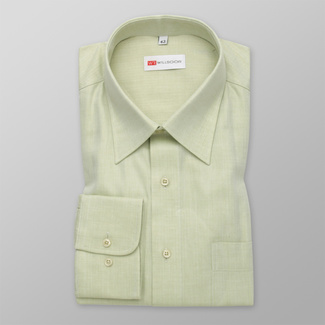 Men's classic shirt in olive color with fine pattern 12307