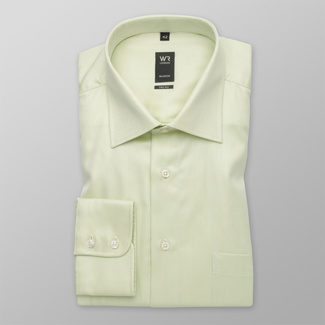 Men's classic shirt in light olive with fine pattern 12308