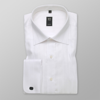 Men's classic shirt in white with fine pattern 12309