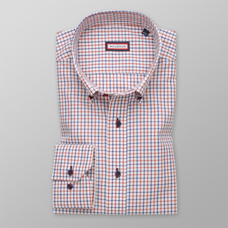 Men shirt Slim Fit with red and blue pattern 12368, Willsoor