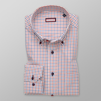Men's classic shirt with red and blue pattern 12369, Willsoor