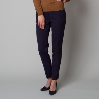 Women's elegant dark blue trousers with a delicate pattern 12371, Willsoor