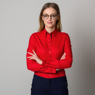 Women's red shirt with a contrasting pattern 12382, Willsoor
