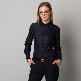 Women's black shirt with coated buttons 12383, Willsoor