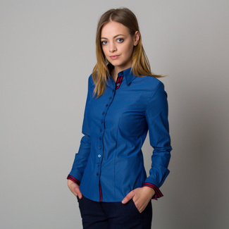 Women's blue shirt with a contrasting pattern 12384, Willsoor