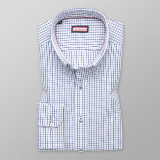 Men's Slim Fit shirt with a blue checkered pattern 12389, Willsoor
