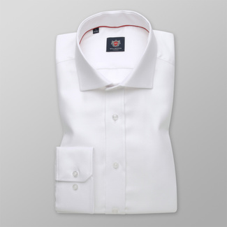 Men's Slim Fit white shirt with a smooth pattern 12390, Willsoor