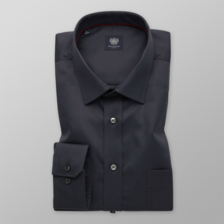 Men's classic dark grey shirt with a smooth pattern 12394, Willsoor
