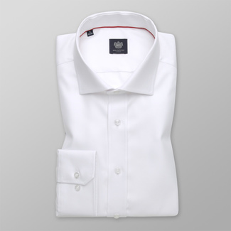 Men's Slim Fit white shirt with a smooth pattern 12395, Willsoor